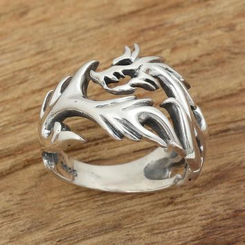 Retro Thai Silver Flame Dragon Real 925 sterling silver jewelry for men and women Lord of the Ring GY35