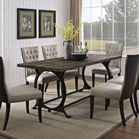 Industrial Modern Rectangular Wood Dining Table In Brown