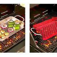 3 Sided Deep Grill Topper Basket Nonstick Handles Stainless Steel Red Speckled