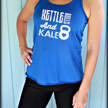 Kettlebells and Kale. Flowy Fitness Tank Top. Workout Tank Top. Cute Womens Workout Clothing. Motivational Tank. Funny Gym Quote.