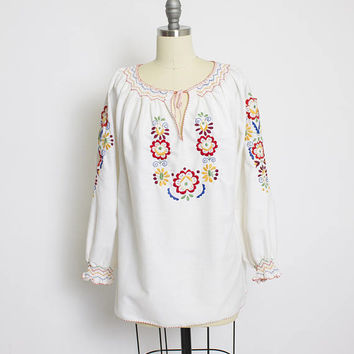 Vintage Peasant Blouse - 1960s Embroidered Floral Ivory Cotton Boho Top 60s - Large