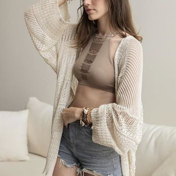 Knit Netted Cardigan (Cream)