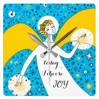 today I choose joy inspiring quote Square Wall Clock