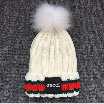 Gucci Fashion Trending Unisex Winter Warm Knit Hat Cap Scarf Set Two-Piece(4-Color) White G