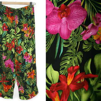 Vintage Tropical Pants~Size Small/Medium/Large~80s 90s Hawaiian Floral Pink Red Green Black Drawstring Elastic Pants~By CLIO