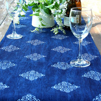 Table Runner In Natural Hmong Indigo Batik Cotton 96 inches