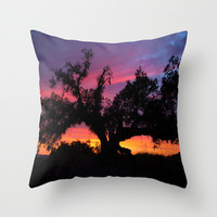 Candy Colored Sunset Through Black Tree Throw Pillow by 2sweet4words Designs