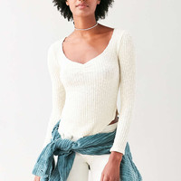 Truly Madly Deeply Grace Cinch-Front Thermal Top - Urban Outfitters