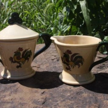 Poppy Trail Metlox California Rooster Art Pottery Cream & Sugar Bowl Set, 3 pcs