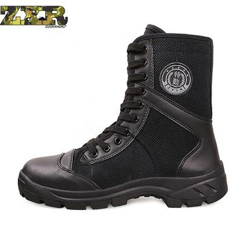 Men Women Outdoor Tactical Military Cambot Tall Boot Canvas Shoes Mountain Hiking Trek Light Desert High Tube Lace-up Sneakers