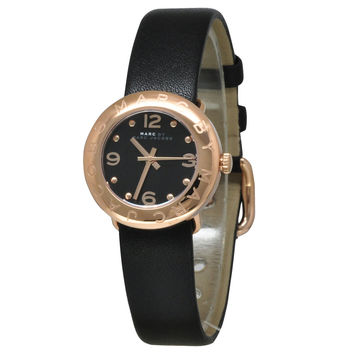 Marc by Marc Jacobs MBM1227 Women's Amy Black Dial Rose Gold Steel Black Leather Strap Watch