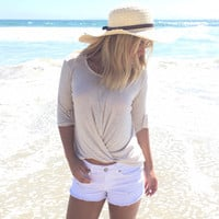 Let's Twist Again Jersey Top In Oatmeal