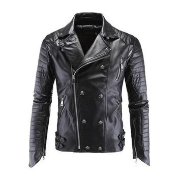 Trendy Motorcycle PU Leather Jacket Winter For Harley Fashion PU Leather Jackets Faux Jacket Stylish Slim Fit Coats Moto Skull Jacket AT_94_13