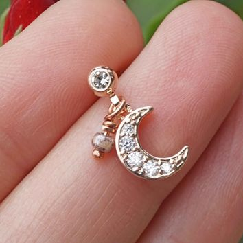 Sparkly Rose Gold Crescent Moon Cartilage Earring Tragus Helix Piercing