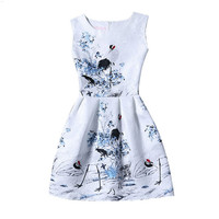 White Bird Print Sleeveless Back Zippered Pleated Dress