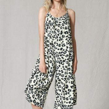 White Leopard Silky Jumpsuit