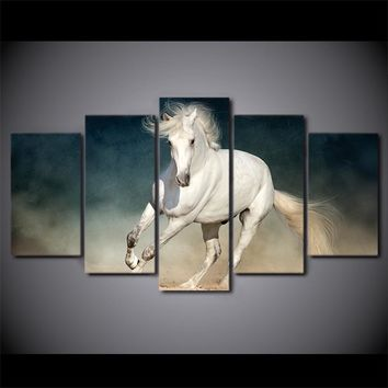 5 Panel Canvas Panel Wall Art Picture  White Running Horse Wall Art Decor Print