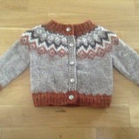 Icelandic sweater with buttons, for 6-12 months old, handmade