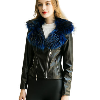 Blue Faux Fur Lapel PU Biker Jacket