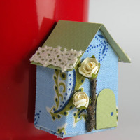 Mini house magnet, inspiration board, Blue House Magnet with white rose for refrigerator