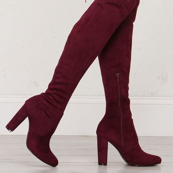 Over The Knee Suede Boot in Taupe, Black and Burgundy