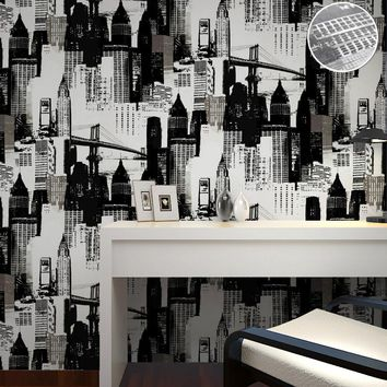 Modern Design Vinyl New York Wallpaper Black Silver 3D Mural Wall Paper For TV Background&Bedroom Wallcovering