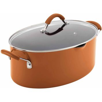 Rachael Ray(r) Cucina Hard Porcelain Enamel Nonstick Pasta Pot, Covered Oval with Spout, 8-Quart, Pumpkin Orange