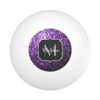 Beautiful Purple glitter sparkles Monogram Ping Pong Ball