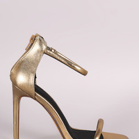 Liliana Metallic Double Strap Open Toe Stiletto Heel