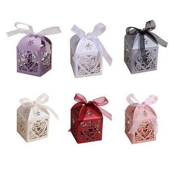 Paper bags for gifts Love Heart Laser Boxes party wedding favors