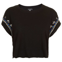 Embellished Crop Tee - Jersey Tops - Clothing - Topshop