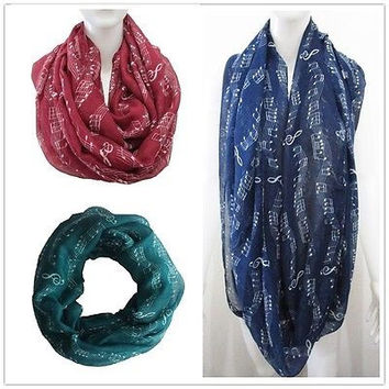 Women Fashion Winter  Music Note Treble Clef Shawl Stole Scarves Scarf Wrap
