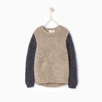 CONTRASTING KNIT SWEATER