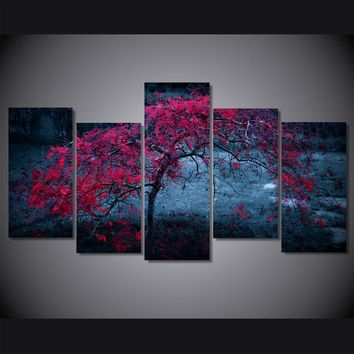 Tree Light Purple Autumn Leaves Picture  Print Wall Art Canvas room decor