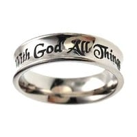 "Christian Women's Stainless Steel ""With God All Things Are Possible"" Matthew 19:26 Purity Ring for Girls"