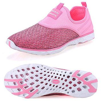 Pooluly Womens Lightweight Athletic Quick Drying Mesh Aqua Slipon Water Shoes