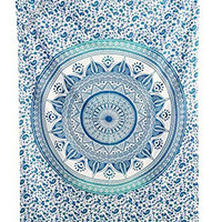 """Amitus Exports ® 1 X Dome Ombre 80""""X54"""" Approx. Inches Teal Green With White Background Color Cotton Fabric Multi-Purpose Handmade Tapestry Hippy Indian Mandala Throws Bohemian Tapestries"""