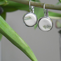 Dangle Earrings, Green Leaves Minimalist Round Earrings, Nature Inspired Ceramic Jewelry in a Silver Color Brass Base, Best Friend Jewelry