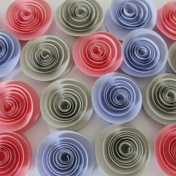 "Colorful Baby Shower Decorations, Lilac Pink Elephant Gray paper flowers set of 24, small 1.5"" quilling roses, grey wedding, bridal shower"