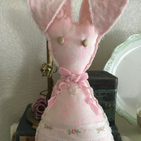 Pink floppy ear vintage bunny/Easter bunnies/rabbit shelf sitters