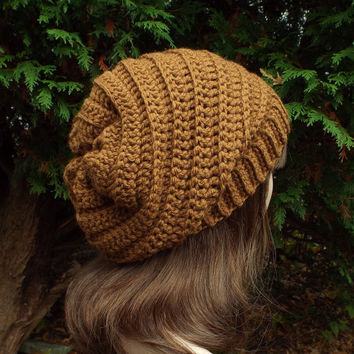 Chestnut Brown Slouchy Crochet Hat - Womens Slouch Beanie - Oversized Ribbed Cap - Chunky Hat
