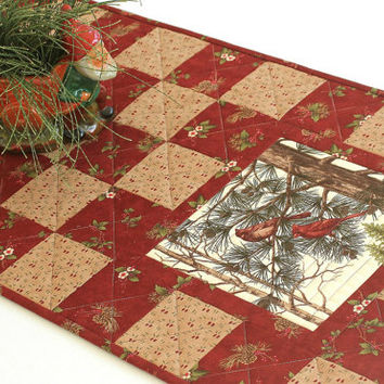 Cardinal Table Runner, Quilted Red Table Runner, Holly and Pines, Christmas Table Quilt, Rustic Cabin Decor, Winter Table Runner, Handmade