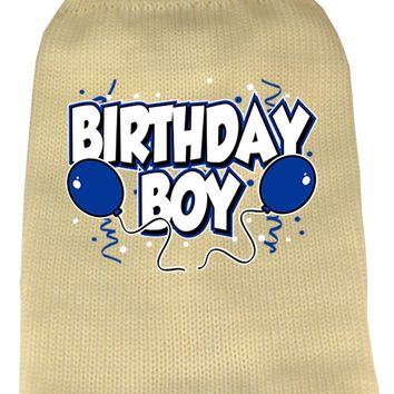 Birthday Boy Screen Print Knit Pet Sweater Lg Cream large