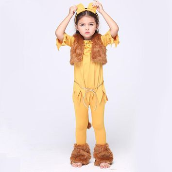 Direct Selling Girls Deluxe Cowardly Lion Wizard Of OZ Cosplay Fancy Dress Child Animal Theme Carnival Party Costume