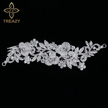 TREAZY Floral Crystal Bridal Long Hair Combs Wedding Tiara Silver Color Rhinestone Hairpins Wedding Hair Jewelry Accessories