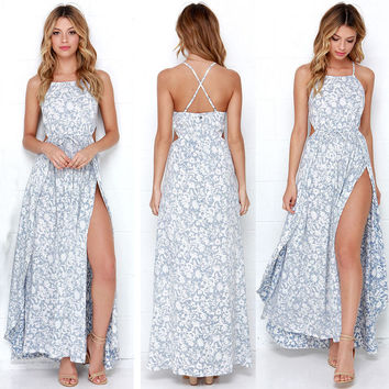 Sexy Women Summer Flower Print Casual Boho Long Maxi Evening Party Dress Beach Dresses Sundress