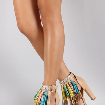 Privileged Clear Gemstone Tassel Fringe Open Toe Heel