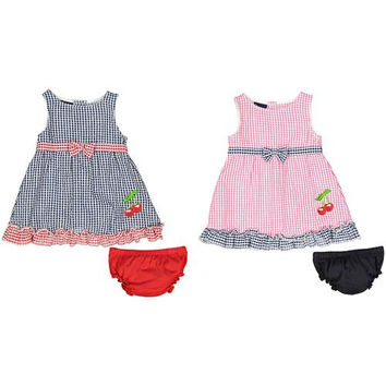 Baby Girl Seersucker Dress with Panty - Plaid with Cherries
