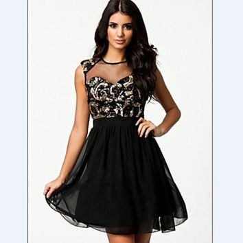 Women's Sexy Net Yarn Splicing Sequins Chiffon Dres