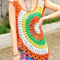 Women Crocheted Rainbow Top - crocheted T shirt